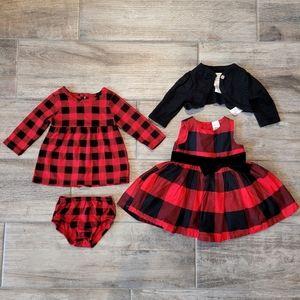 Baby Girl Buffalo Plaid Christmas Dress Outfit Set